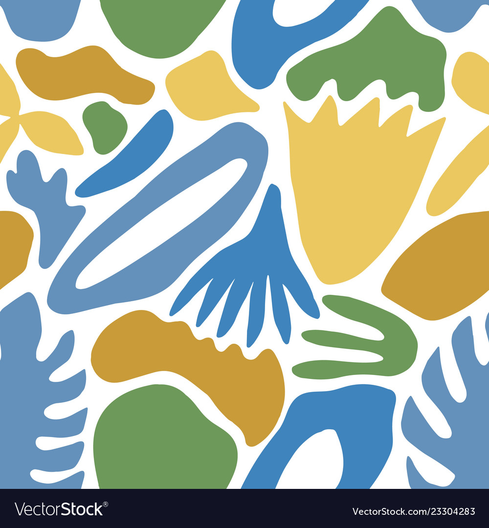 Abstract seamless pattern with blue nature shapes
