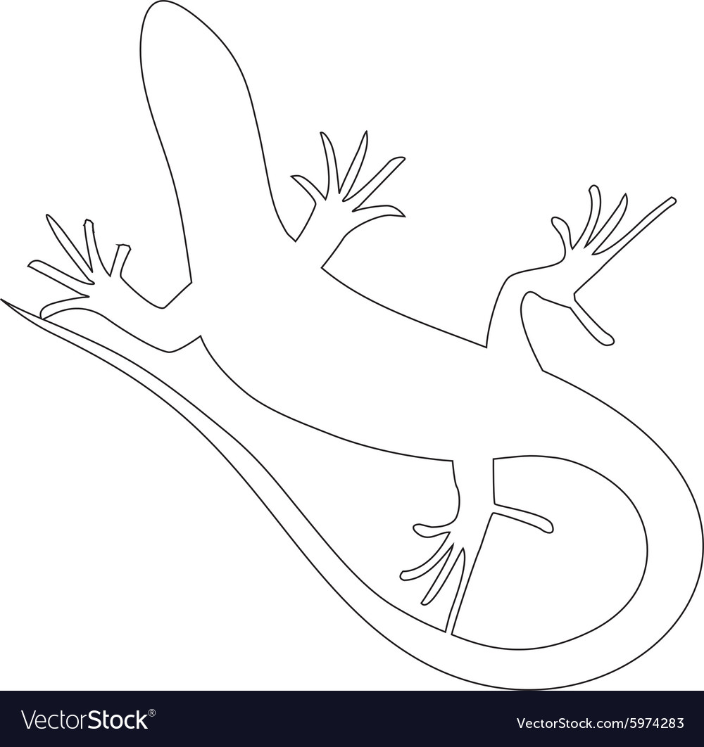 Beautiful monochrome lizard lizard silhouette vector image