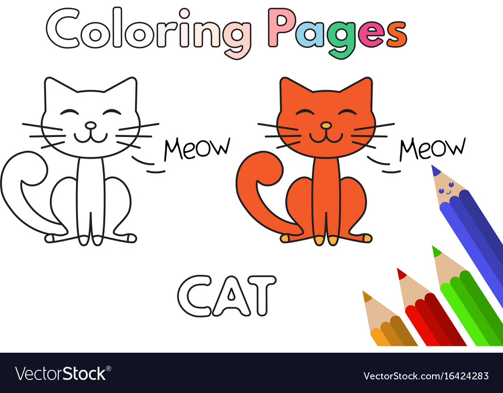 - Cartoon Cat Coloring Book Royalty Free Vector Image
