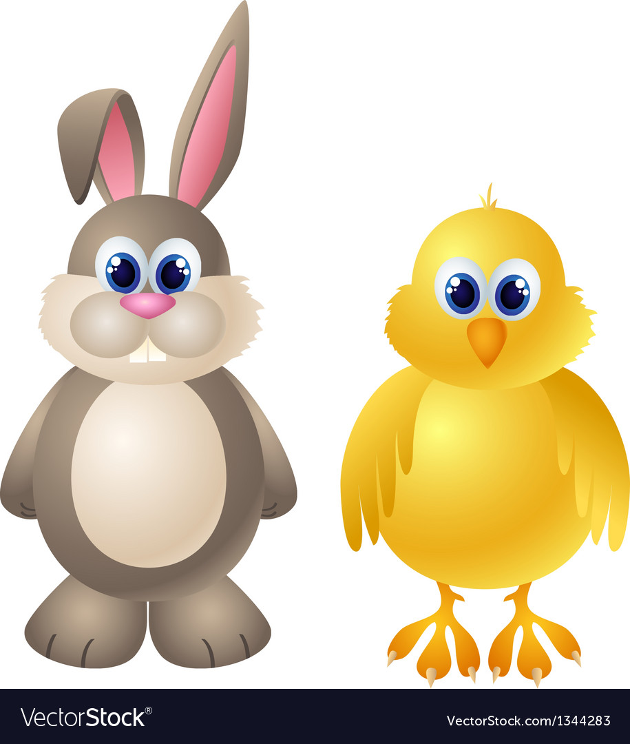 Cartoon rabbit and chicken character