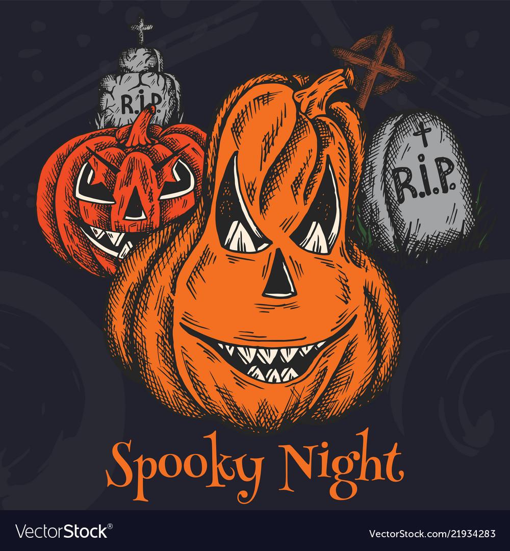 Halloween holiday colorful cartoon horror card