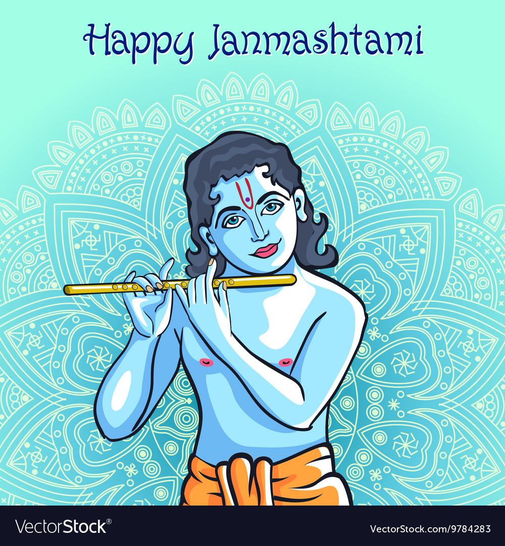 Hindu young god Lord Krishna Happy janmashtami