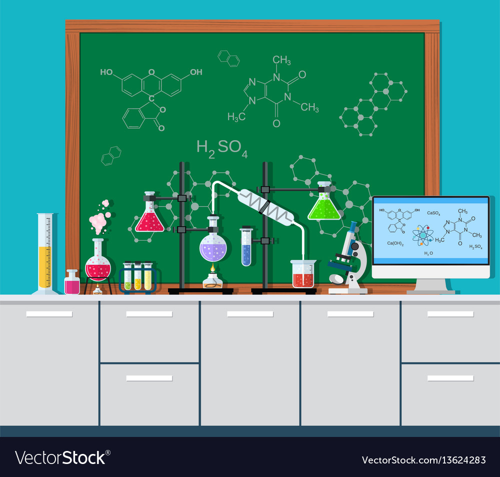 Laboratory equipment jars beakers vector image