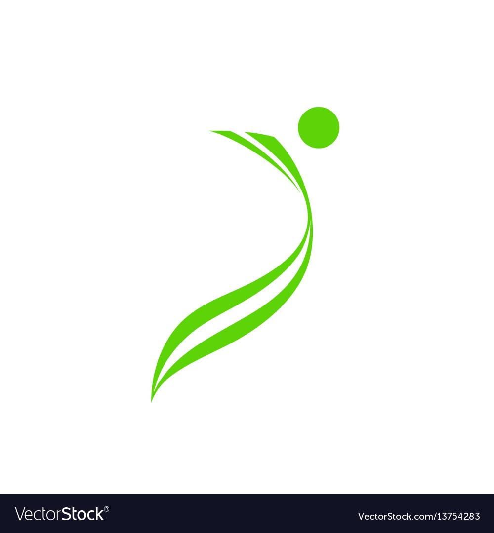 Man silhouette green health logo vector image