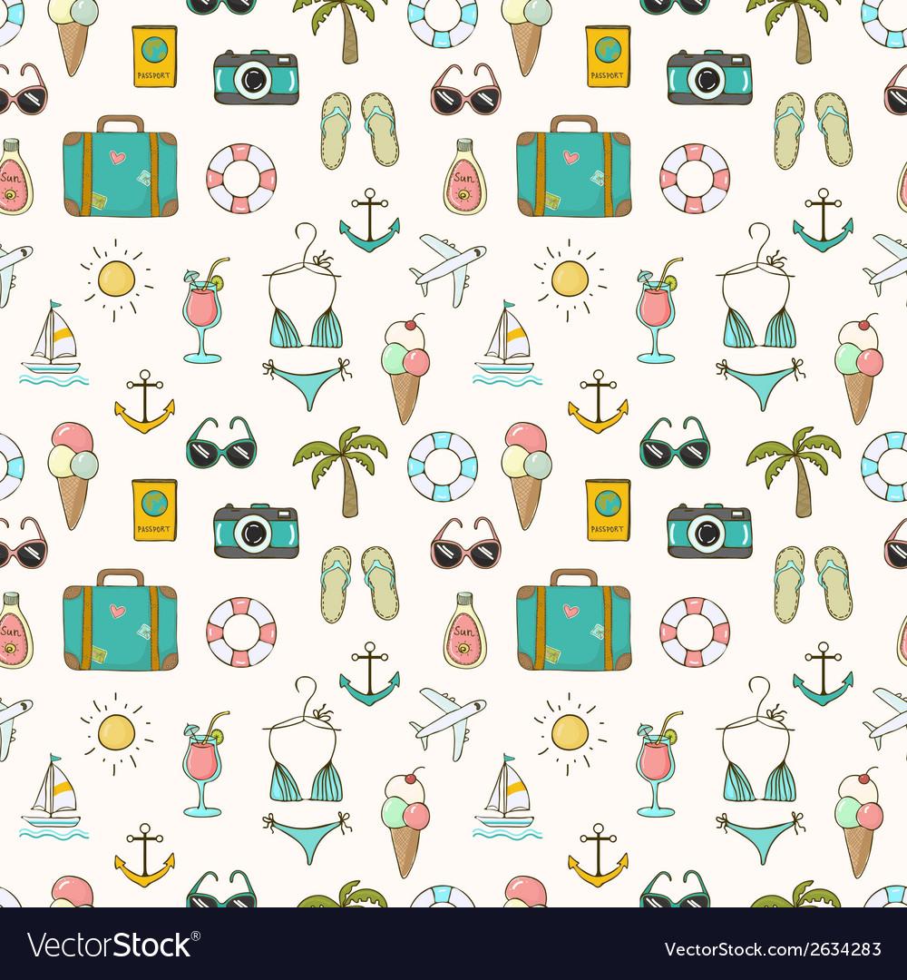 On vacation summer seamless pattern