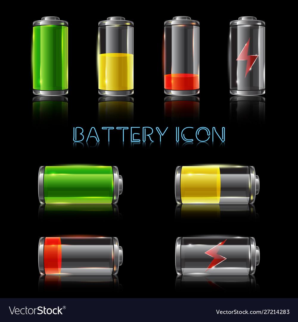 Realistic icon set battery level indicators