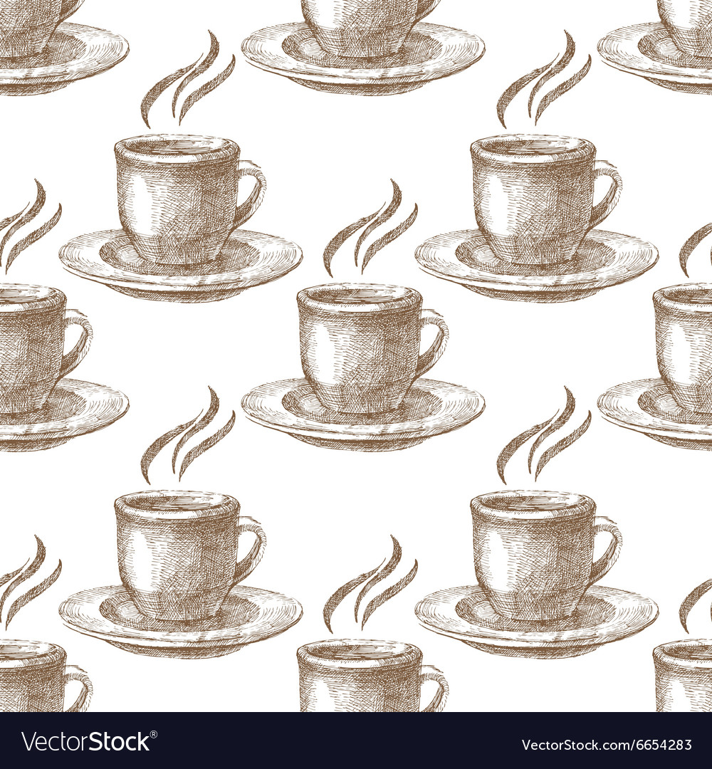 Seamless pattern with cups vector image