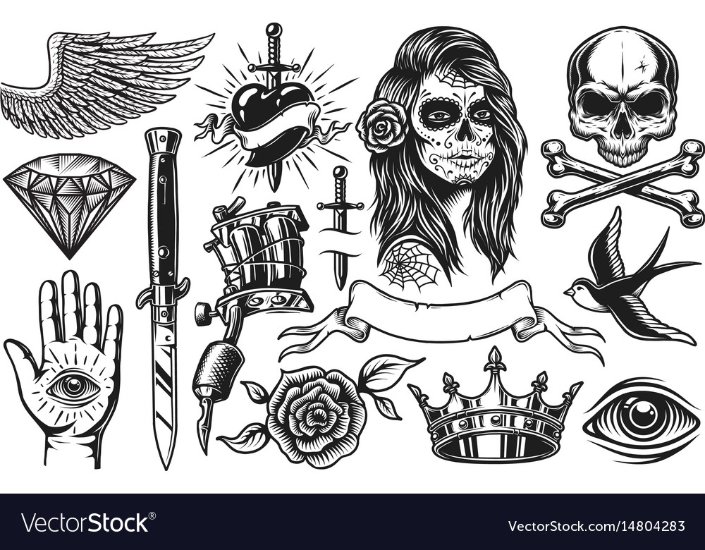 Set of vintage tattoo elements vector image