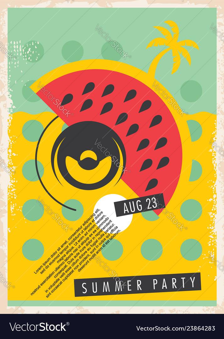 Summer party retro poster design