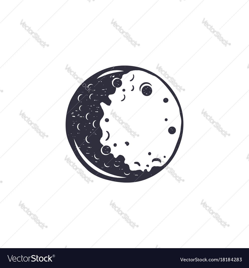 Vintage Hand Drawn Moon Symbol Silhouette Vector Image