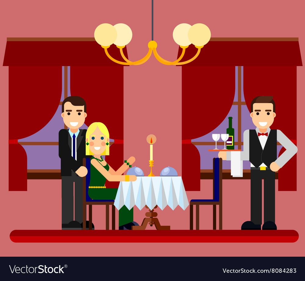Young romantic couple date in restaurant