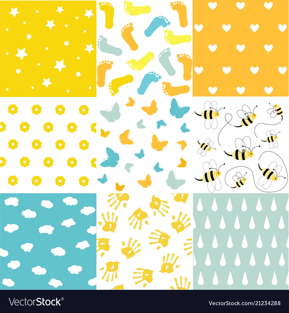 Baby shower set of seamless backgrounds