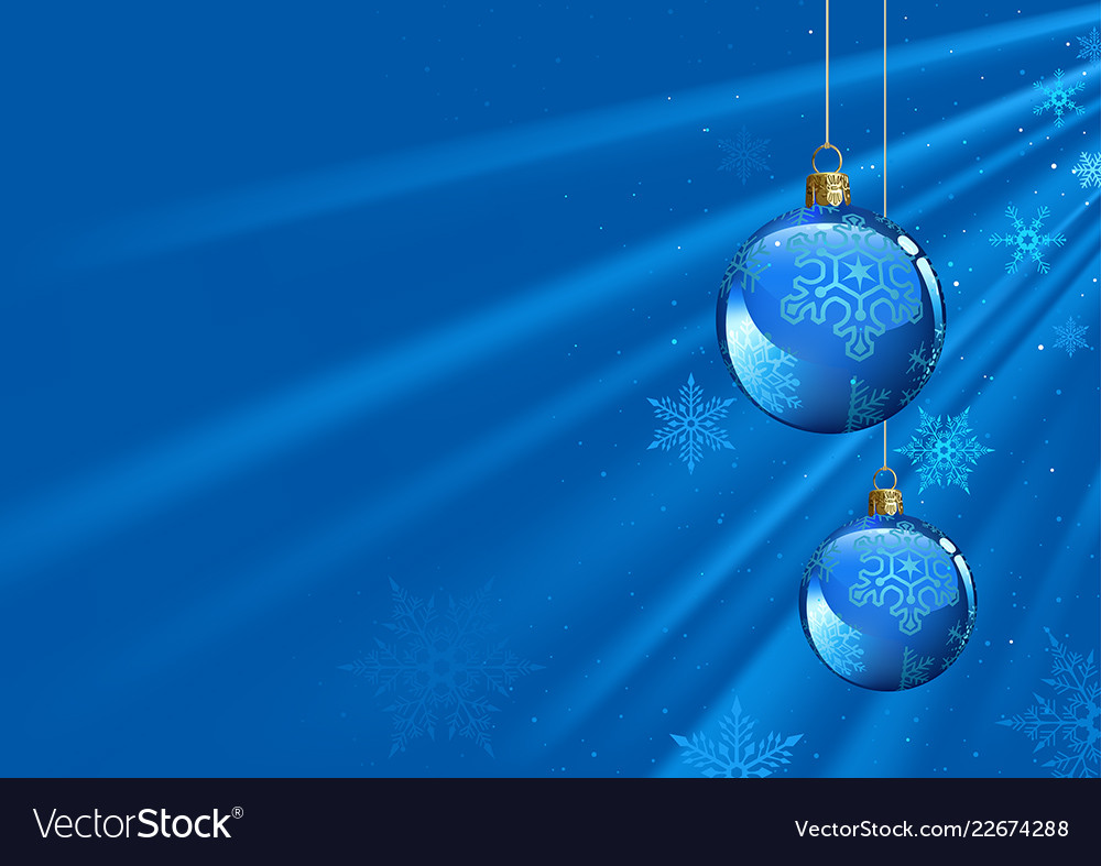 blue christmas background with baubles royalty free vector vectorstock