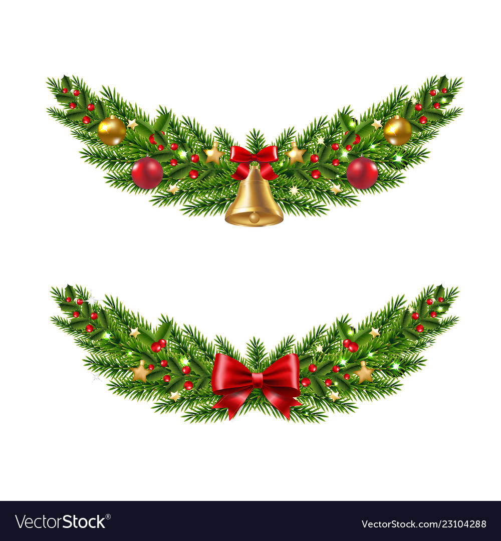 Christmas garland set white background vector