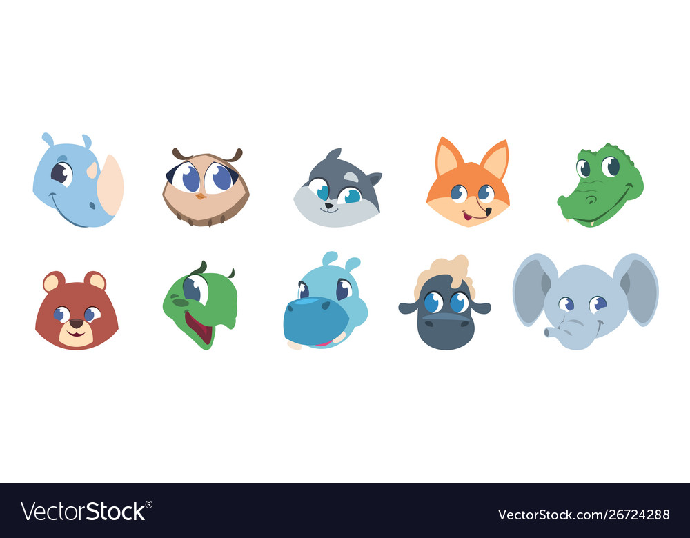 Cute animal faces bapets and wild forest