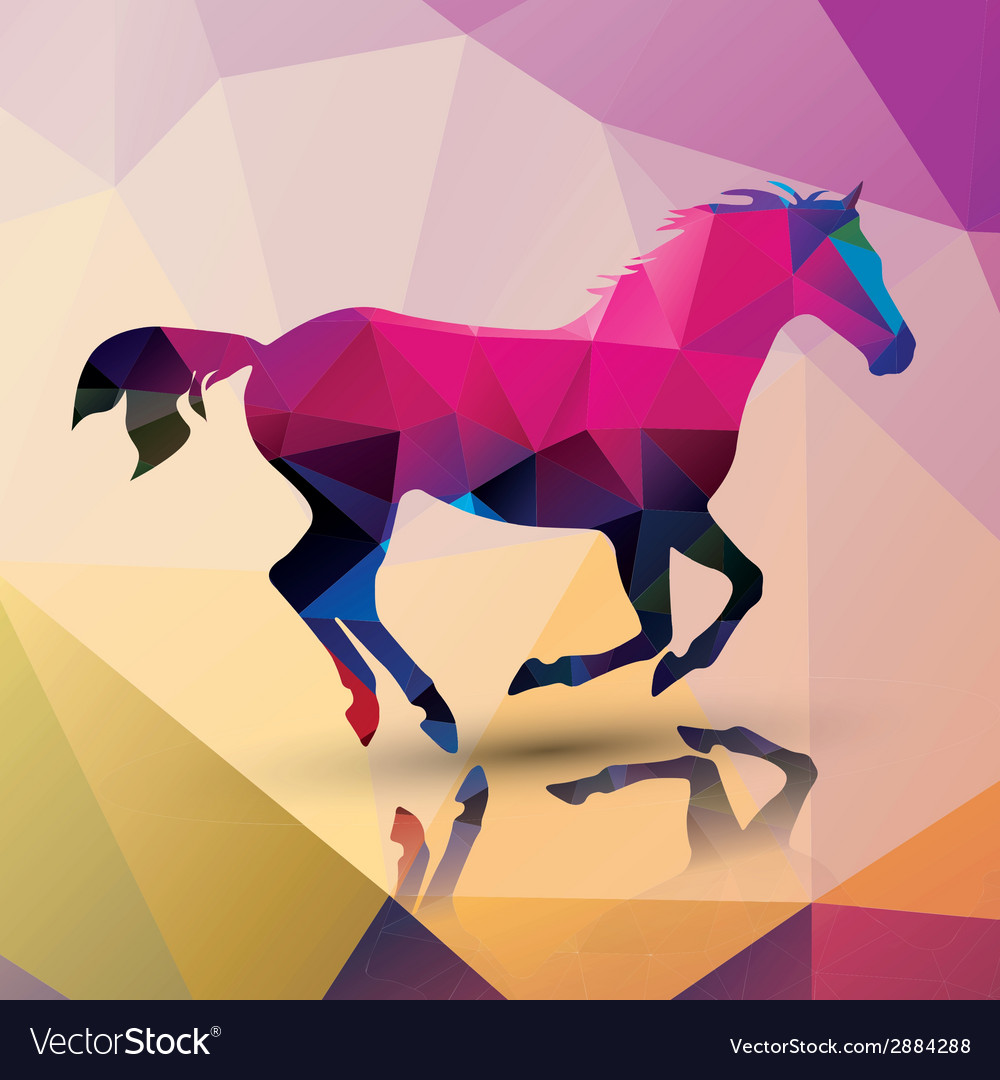 Geometric polygonal horse pattern design