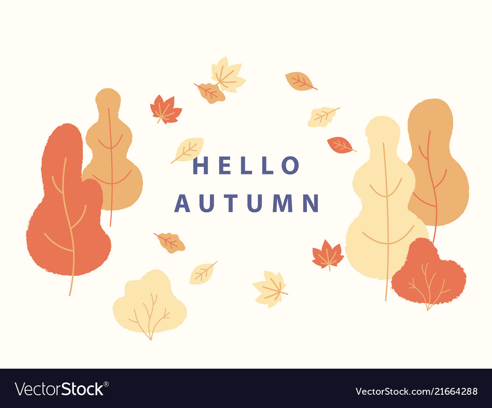 Hello autumn concept in flat