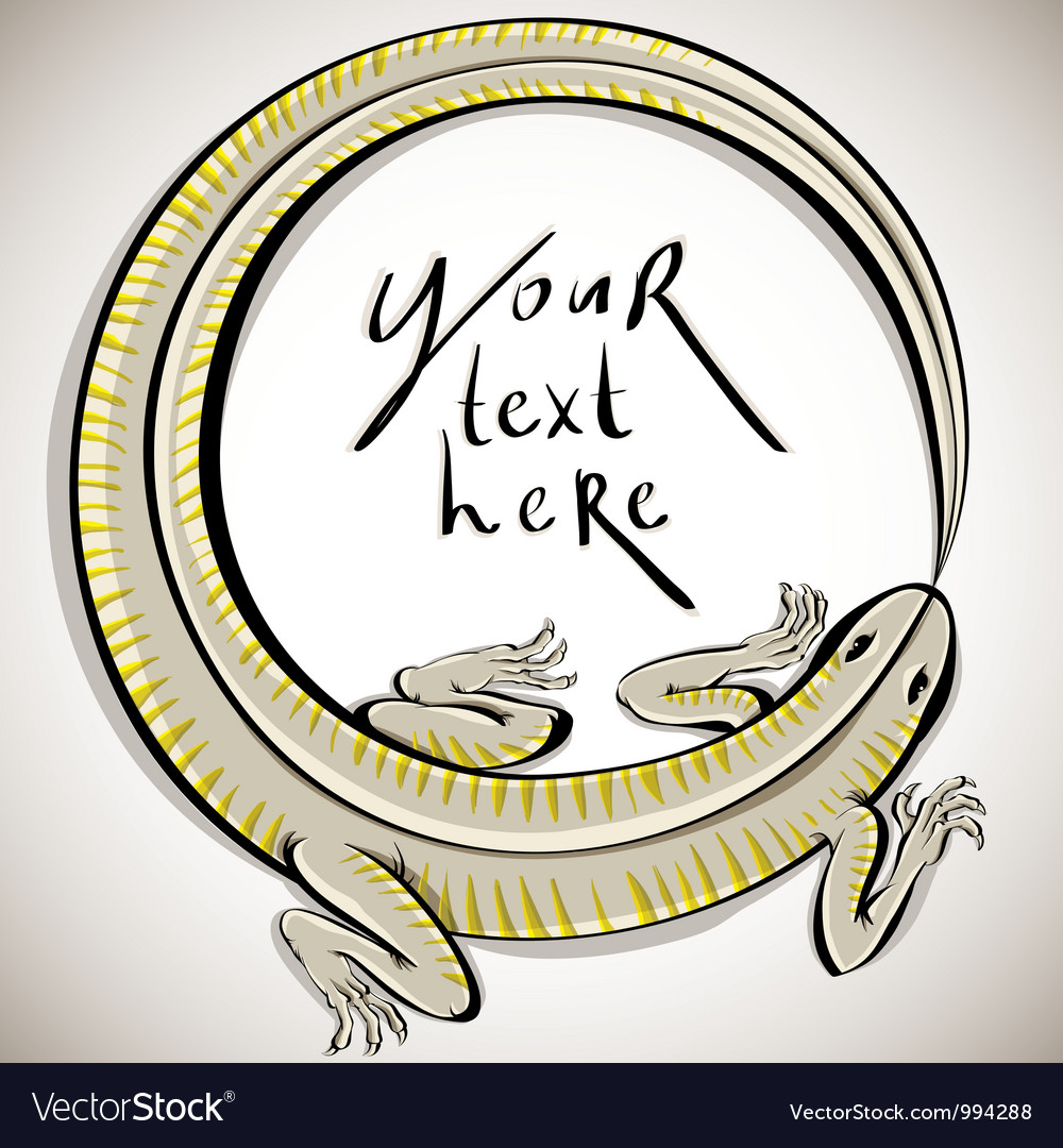 Lizard in round shape with copy space