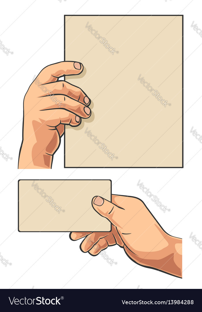 Male hand holding blank paper business card