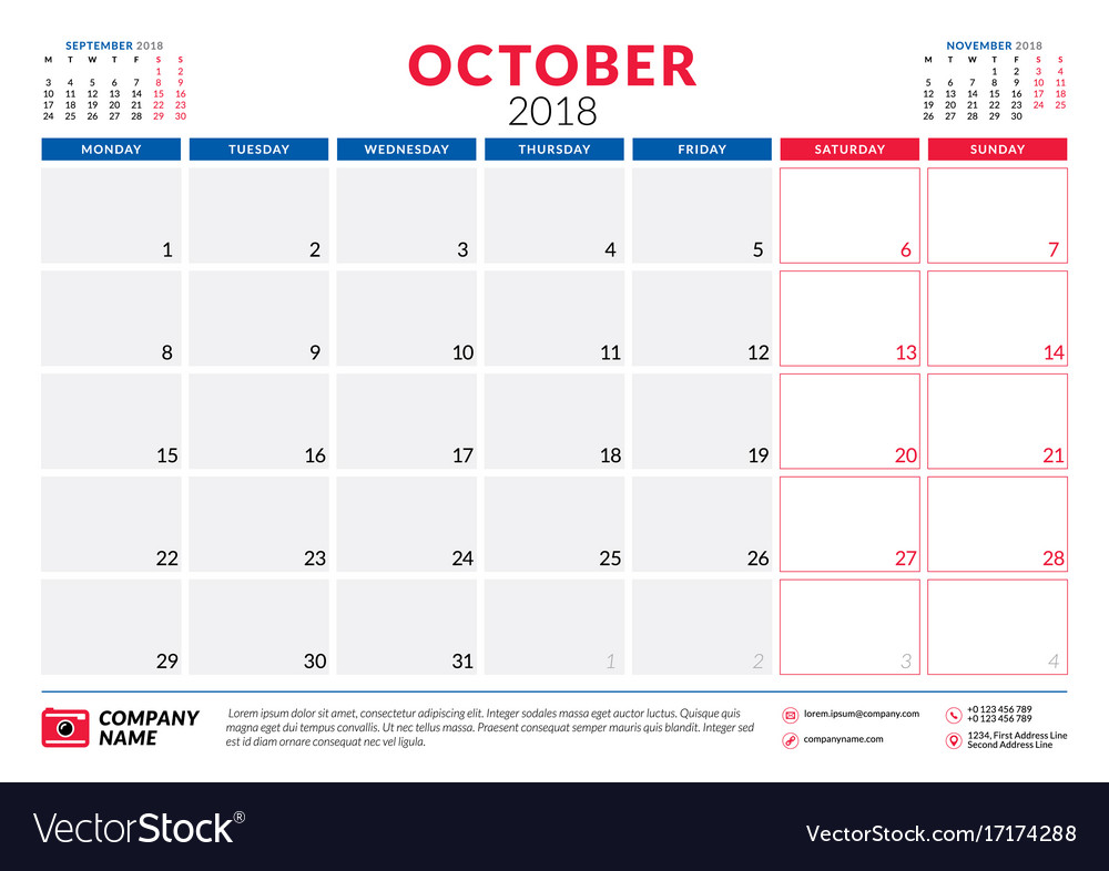 october 2018 calendar planner design template vector image