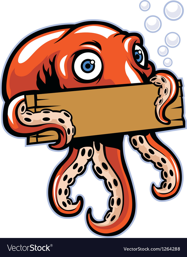 Octopus hold the sign vector image