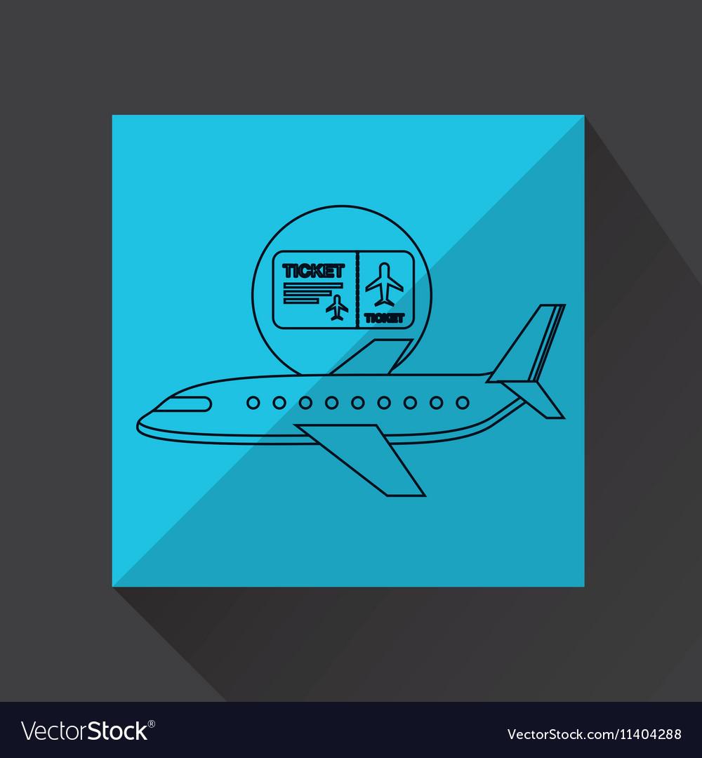Plane white sun symbol travel ticket design