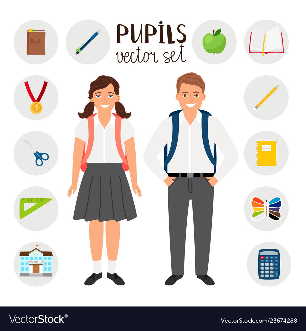 Pupils boy and girl icons set tools stationary