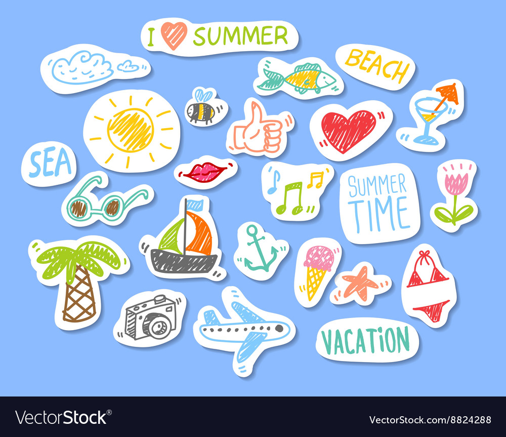 Set of stickers with sketch element summer theme