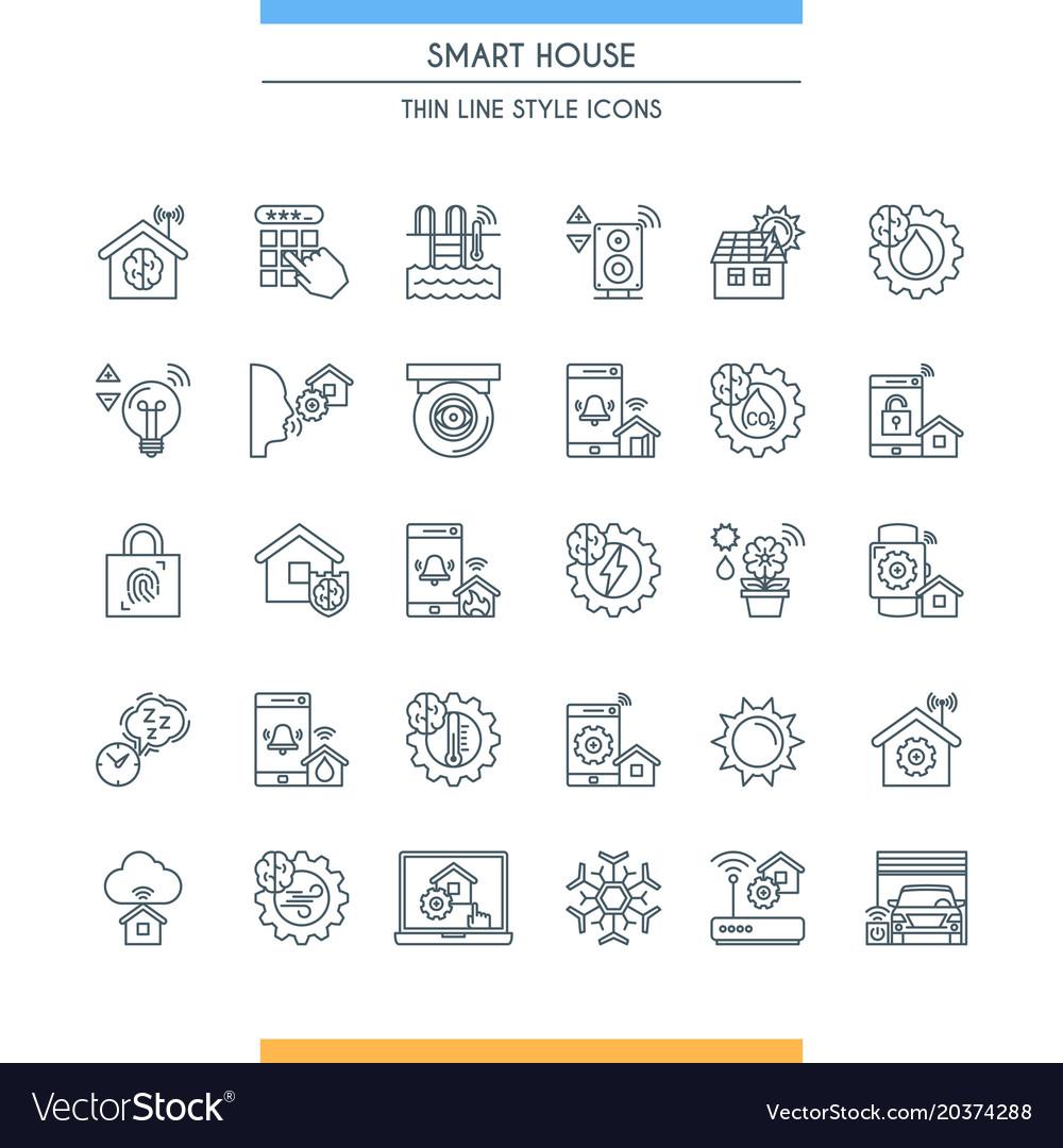 Thin line design smart home icons
