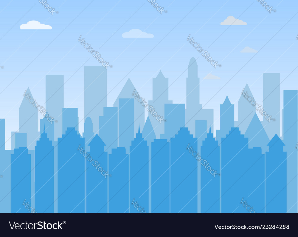 Urban landscape city buildings silhouette