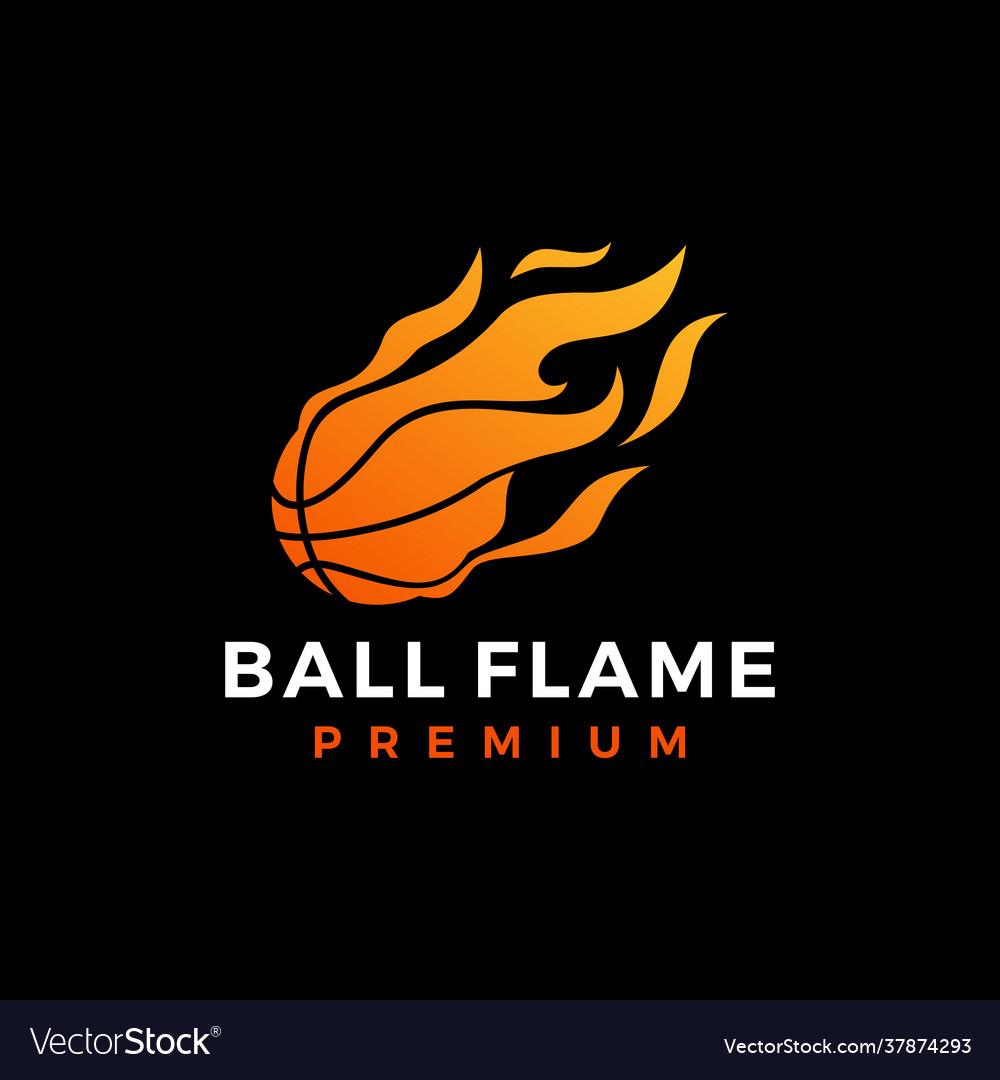 Basket ball fire flame logo icon