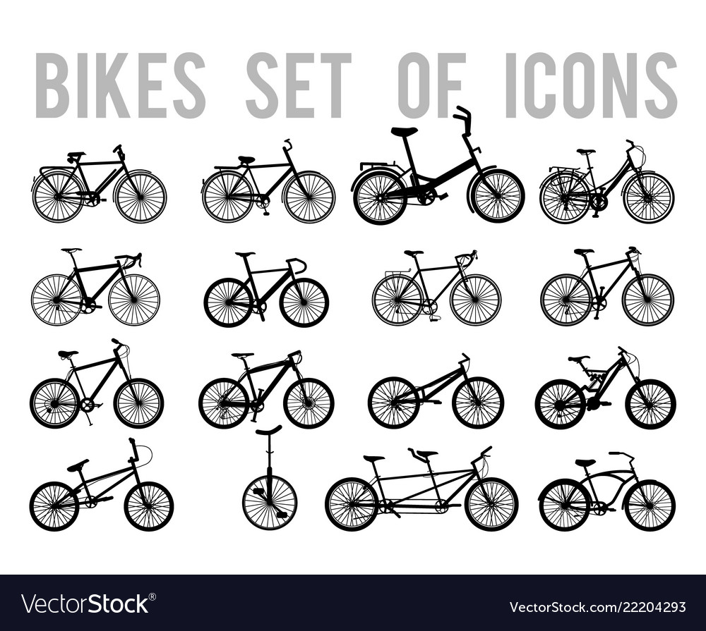 Types Of Bicycles >> Bicycle Or Different Types Of Bicycle Icons Thin Vector Image