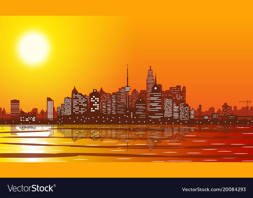 City skyline silhouette at sunset