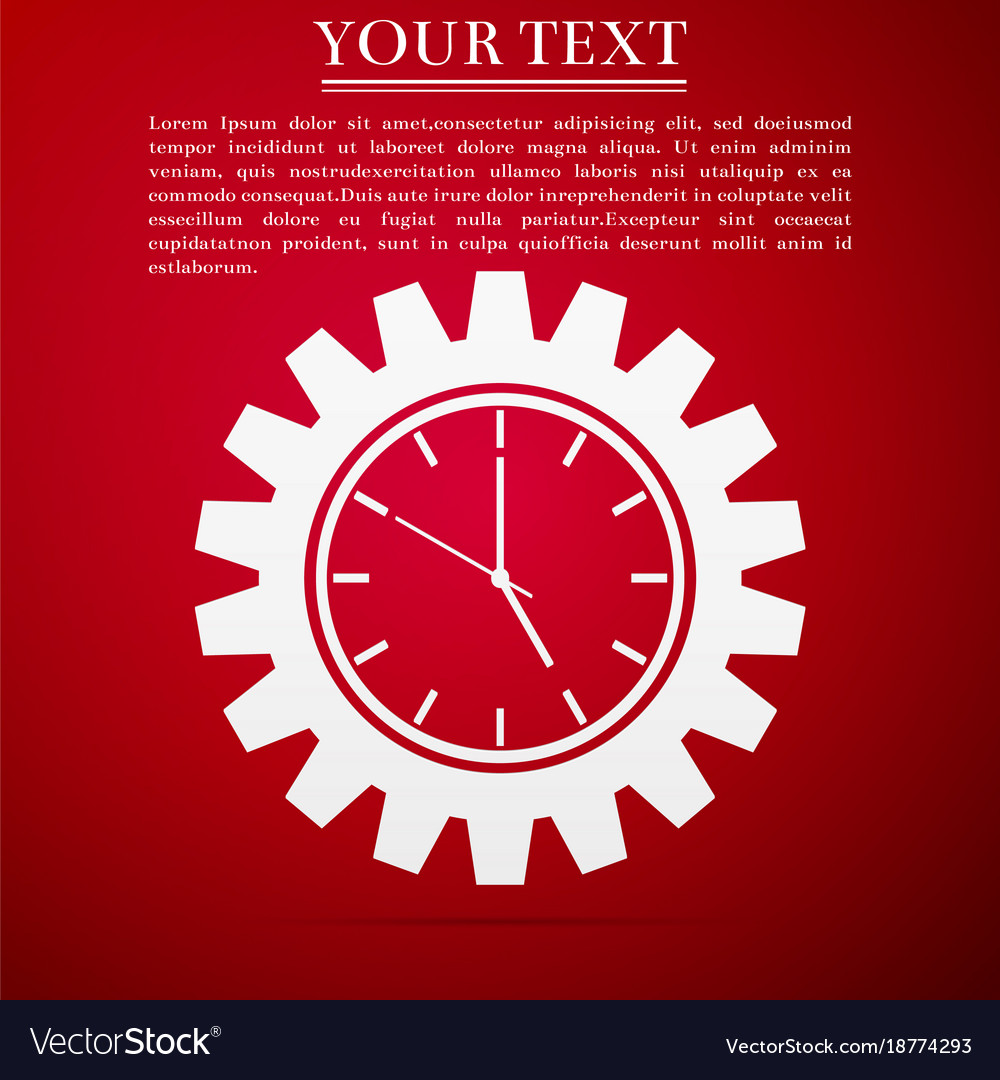 Clock gear icon isolated on red background vector image
