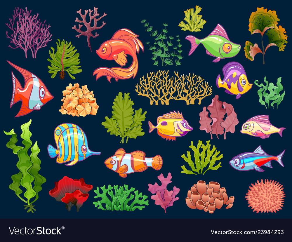 Cute kid underwater set aquarium bafish and