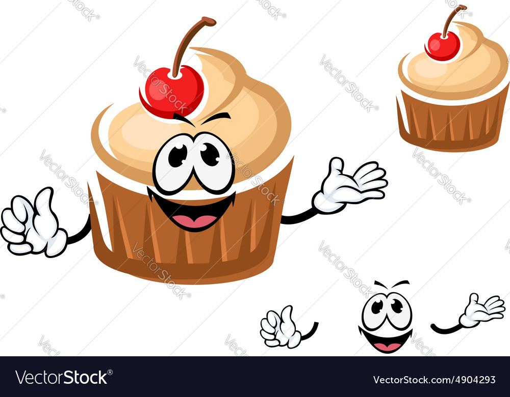 Funny cupcake character with cherry