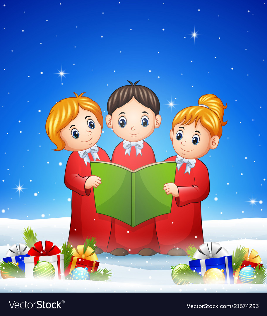 Group of children choir in the winter background w