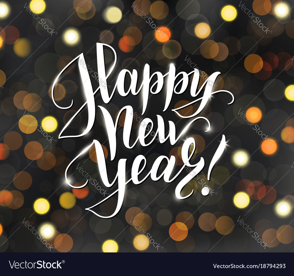 Happy New Year Text Holiday Greetings Quote Vector Image