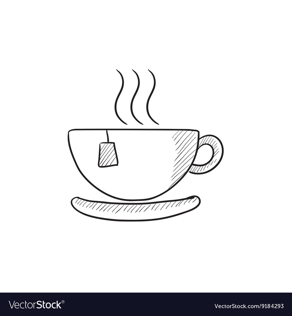 Hot Tea In Cup Sketch Icon Royalty Free Vector Image