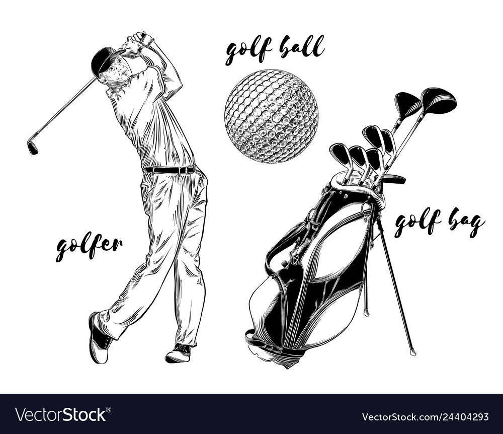 Isolated golf set on white background hand-drawn