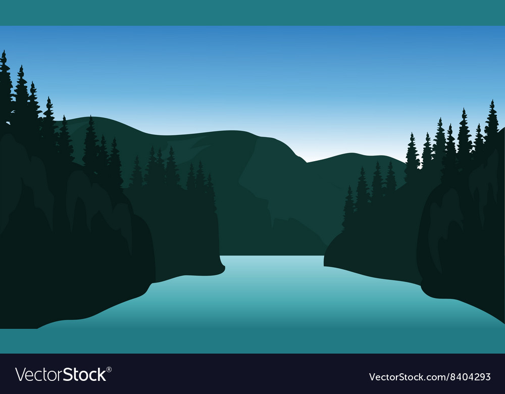 Landscape trees river of silhouette