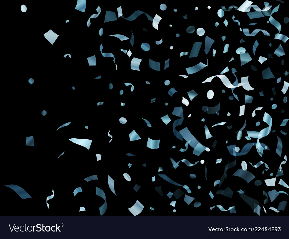 Metallic silver shiny holiday confetti flying