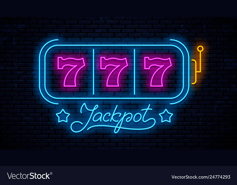 Neon gaming slot machine 777