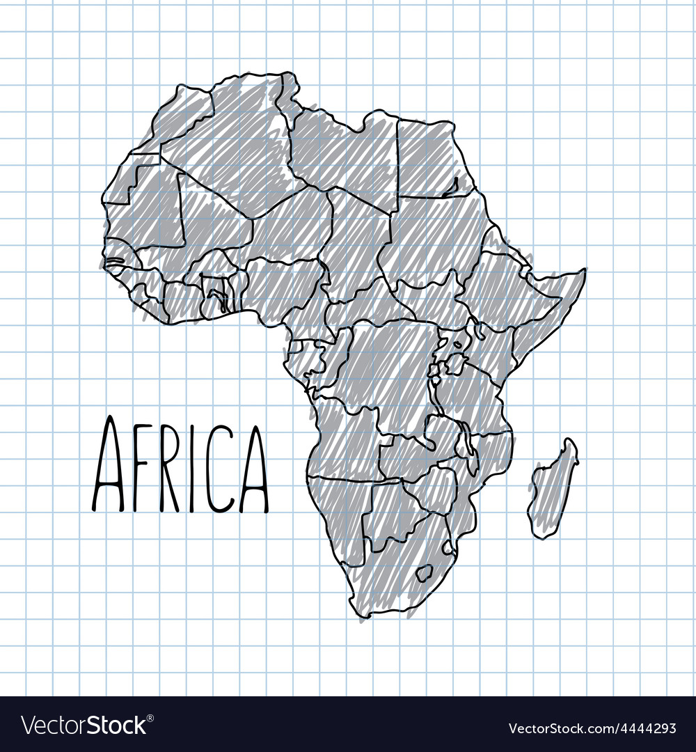 Map Of Africa Drawing.Pen Hand Drawn African Map On Paper