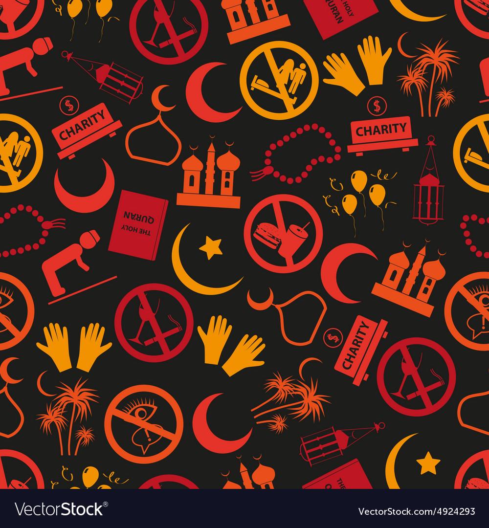 Ramadan islam holiday icons seamless color pattern