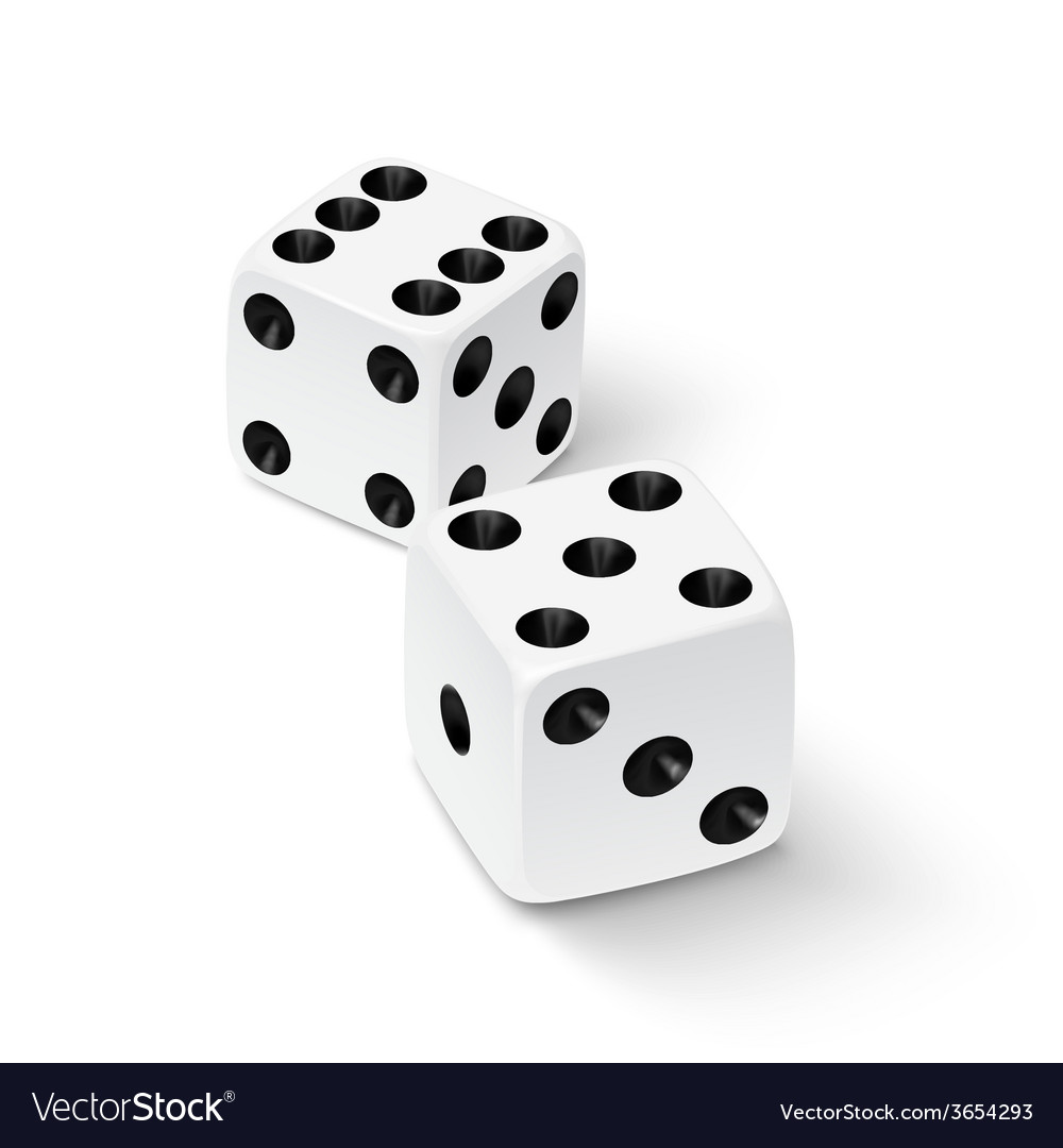 Realistic white dice icon vector image
