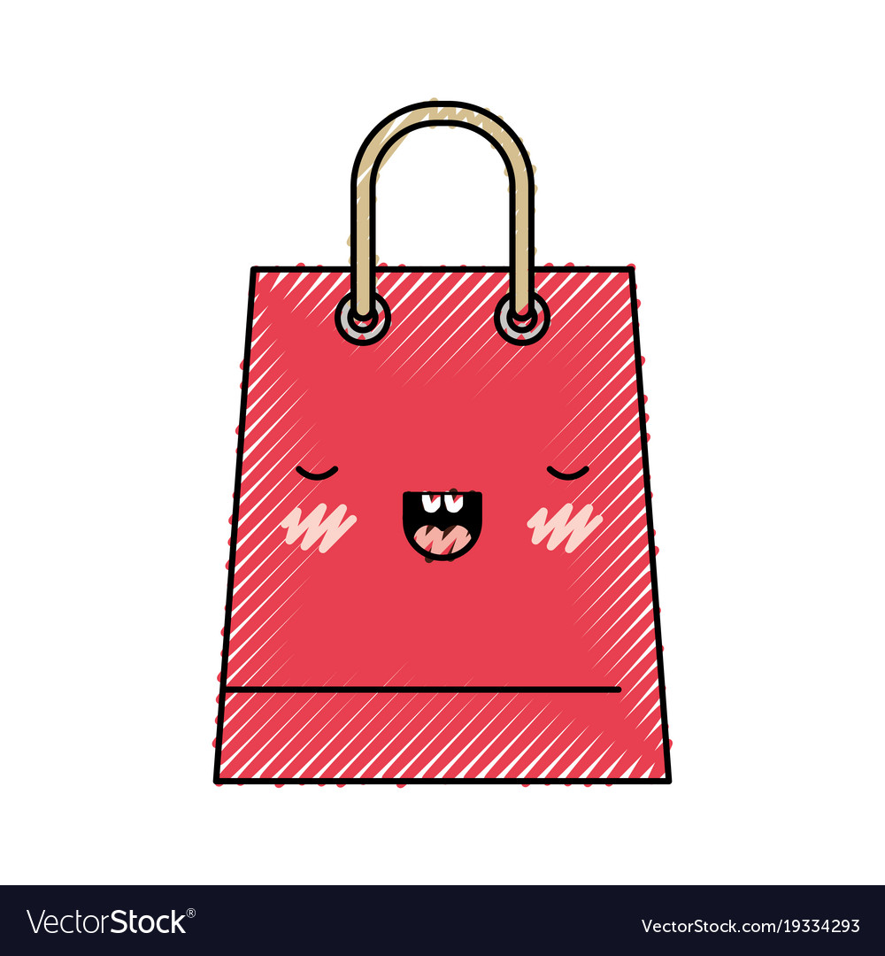 Trapezoid kawaii shopping bag icon with handle in