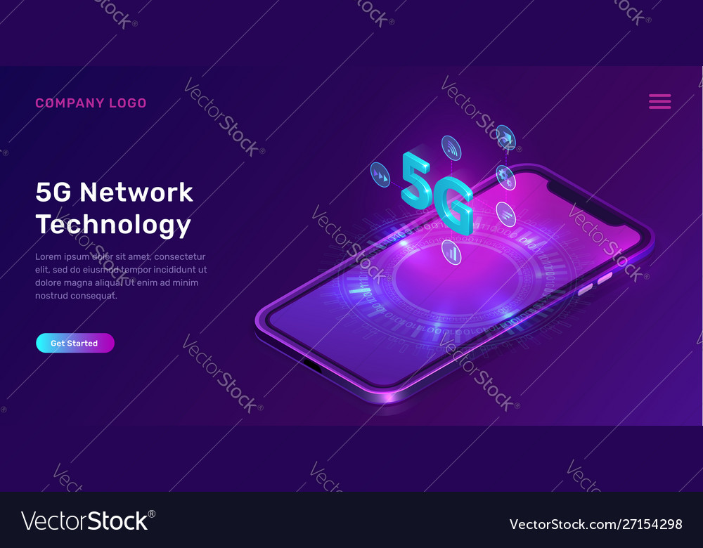 5g network technology isometric concept