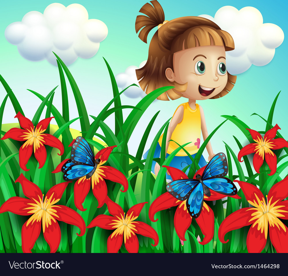 a small girl at the flower garden with butterflies vectorstock