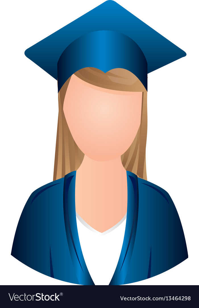 Color woman graduation icon vector image
